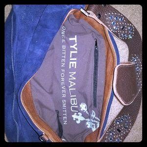 Blue suede hobo shoulder bag